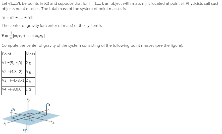 Let v1,.,Vk be points in R3 and suppose that for j = 1,., k an object with mass mj is located at point vj. Physicists call such objects point masses. The total mass of the system of point masses is m = ml +. + mk The center of gravity (or center of mass) of the system is V = - (m,v + .+m, V ] Compute the center of gravity of the system consisting of the following point masses (see the figure): Point Mass V1 =(5,-4,3) 2g V2 =(4,3,-2) 5 g V3 =(-4,-3,-1)2 g V4 =(-9,8,6) 1g