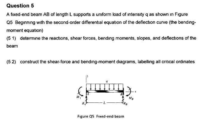 Question 5 A fixed-end beam AB of length L supports a uniform load of intensity q as shown in Figure Q5 Beginning with the second-order differental equation of the deflection curve (the bending moment equation) (5 1) determine the reactions, shear forces, bending moments, slopes, and deflections of the beam construct the shear-force and bending-moment diagrams, labelling all critical ordinates (5 2) Mg Mv Rs L RA Figure Q5 Fixed-end beam