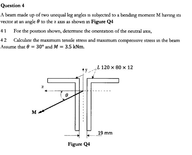 Question 4 A beam made up of two unequal leg angles is subjected to a bending moment M having vector at an angle 0 to the z axis as shown in Figure Q4 its 41 For the position shown, determine the onentation of the neutral axis, Calculate the maxımum tensıle stress and maximum compressive stress in the beam Assume that 0 30° and M 3.5 kNm 42 L 120 x 80 x 12 y 19 mm Figure Q4