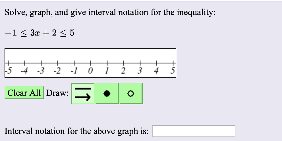 Solve, graph, and give interval notation for the inequality: -1 < 3x + 2 < 5 + 5 -4 -3 -2 4 Clear All Draw: Interval notation for the above graph is: