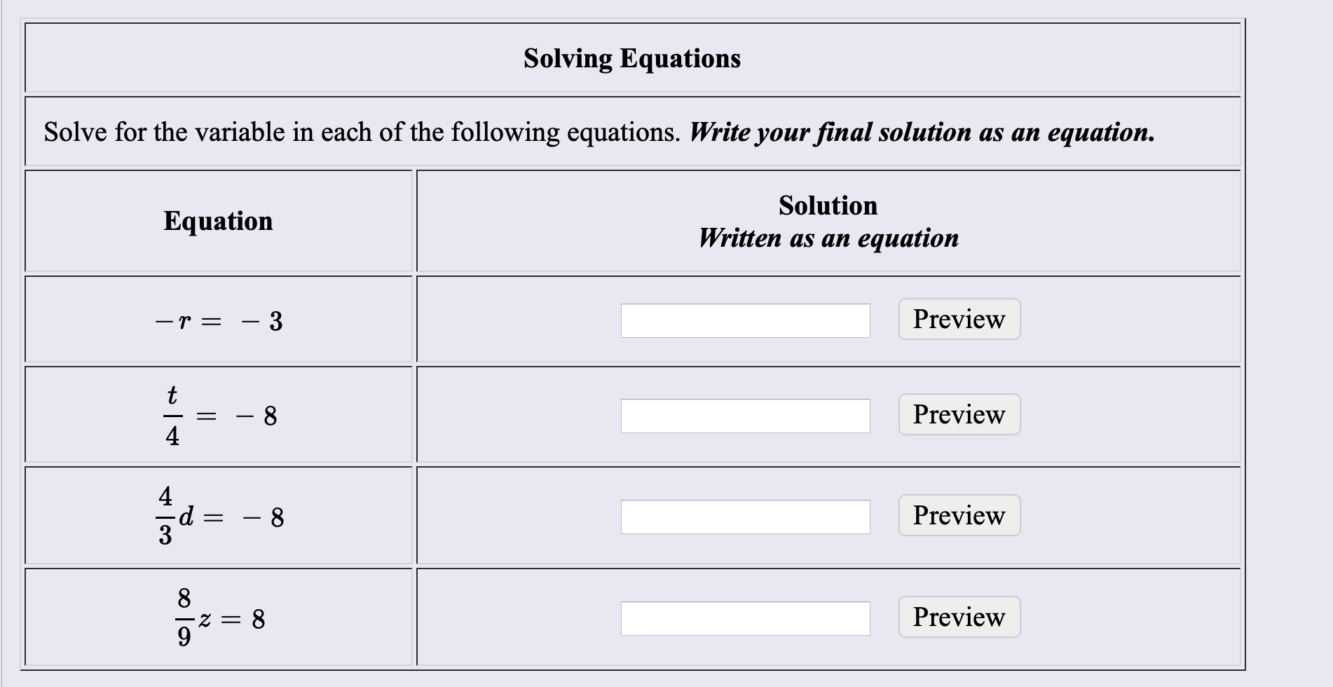 Solving Equations Solve for the variable in each of the following equations. Write your final solution as an еquation. Solution Equation Written as an equation Preview - 3 -r= t Preview 8 4 4 Preview 8 Preview Z = со