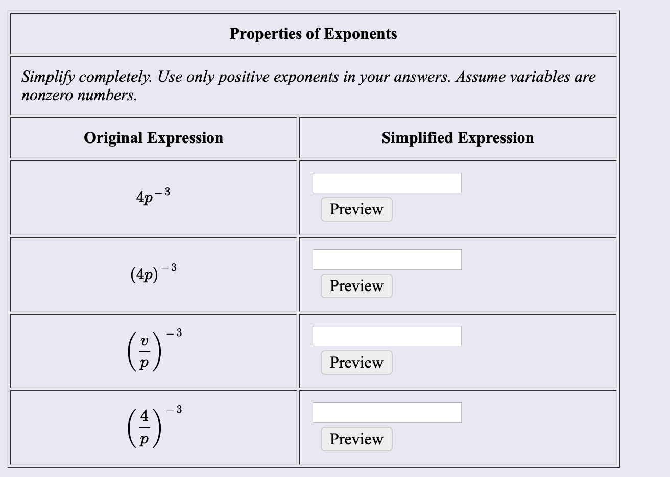"Properties of Exponents Simplify completely. Use only positive exponents in your answers. Assume variables are поnzero nunтbers. Original Expression Simplified Expression 4p 3 Preview (4p)-3 Preview (;)"" Preview (3 Preview"