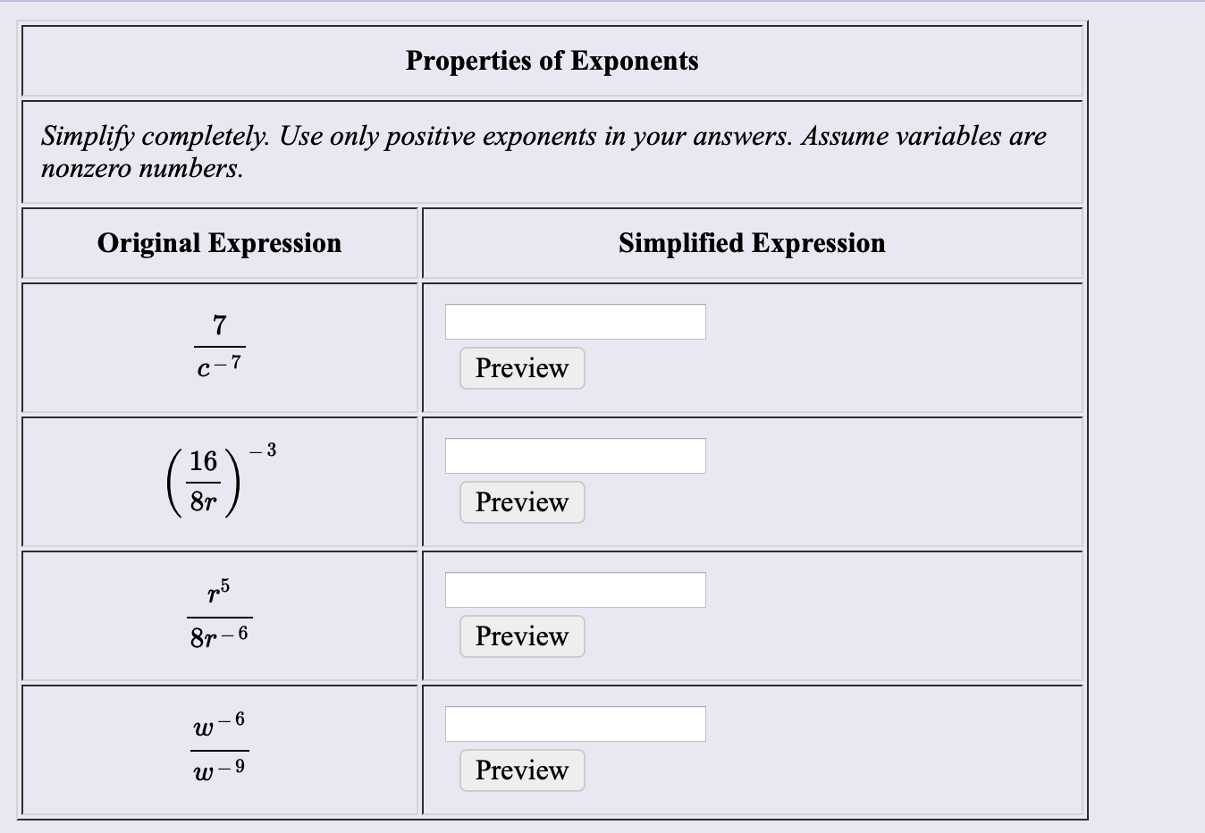 Properties of Exponents Simplify completely. Use only positive exponents in your answers. Assume variables are поnzero numbers. Simplified Expression Original Expression 7 Preview c-7 -3 16 8r Preview Preview 8r-6 w Preview