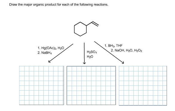 Draw the major organic product for each of the following reactions. 1. ВНз. THF 2. NaOH, H-O, НаО2 1. Hg(OAc)2, H20 2. NaBH4 H2SO4 H20