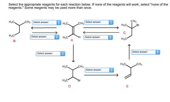 "Select the appropriate reagents for each reaction below. If none of the reagents will work, select ""none of the reagents. Some reagents may be used more than once CH3 Br CH Select answer Нас. Solect answer Нас. CH3 Нас. C НаС Select answer H Select answer H3C A НаС В Select answer Select answer Нас, Cн3 Нас. CH3 Select answer Br Нас E"
