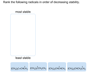 Rank the following radicals in order of decreasing stability. most stable least stable (CHдС-снсн, (сныссн,сн, (сн),снансн, (сH3,CHCH, CH,