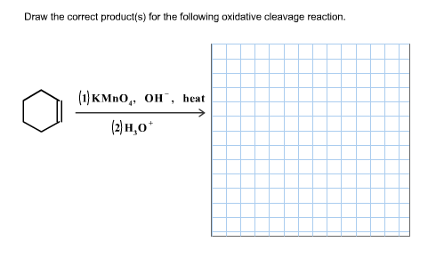 Draw the correct product(s) for the following oxidative cleavage reaction ()кМnO,, он , heat () н,о