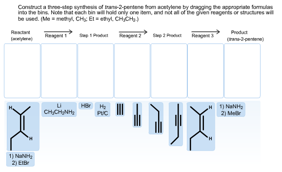 Construct a three-step synthesis of trans-2-pentene from acetylene by dragging the appropriate formulas into the bins. Note that each bin will hold only one item, and not all of the given reagents or structures will be used. (Me methyl, CHs; Et ethyl, CH3CH2.) Reactant Product Reagent 1 Reagent 2 Step 1 Product Step 2 Product Reagent 3 (acetylene) (trans-2-pentene) Li HBr На Pt 1) NaNH2 2) Me н CH3CH2NH2 H H 1) NaNH2 2) EtBr