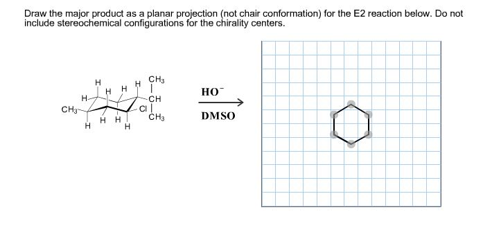 Draw the major product as a planar projection (not chair conformation) for the E2 reaction below. Do not include stereochemical configurations for the chirality centers. CH3 H но- Н Н- CH C CH3 сH- DMSO HH Н H