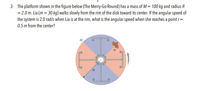 The platform shown in the figure below (The Merry-Go-Round) has a mass of M- 100 kg and radius R 2.0 m. Lia (m 30 kg) walks slowly from the rim of the disk toward its center. If the angular speed of the system is 2.0 rad/s when Lia is at the rim, what is the angular speed when she reaches a pointr 3- 0.5 m from the center? M