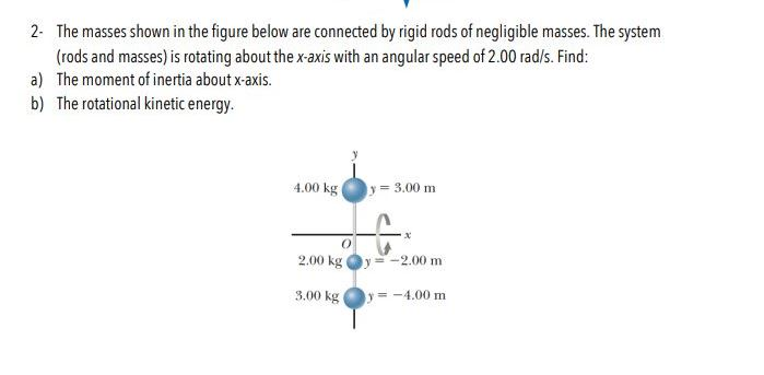 2 The masses shown in the figure below are connected by rigid rods of negligible masses. The system (rods and masses) is rotating about the x-axis with an angular speed of 2.00 rad/s. Find: a) The moment of inertia about x-axis. b) The rotational kinetic energy 4.00 kg = 3.00 m -2,00 m 2.00 kg =-4.00 m 3.00 kg