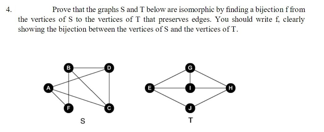 Prove that the graphs S and below are isomorphic by finding a bijection ffrom 4. the vertices of S to the vertices of T that preserves edges. You should write f, clearly showing the bijection between the vertices ofS and the vertices of T B G н E с т S