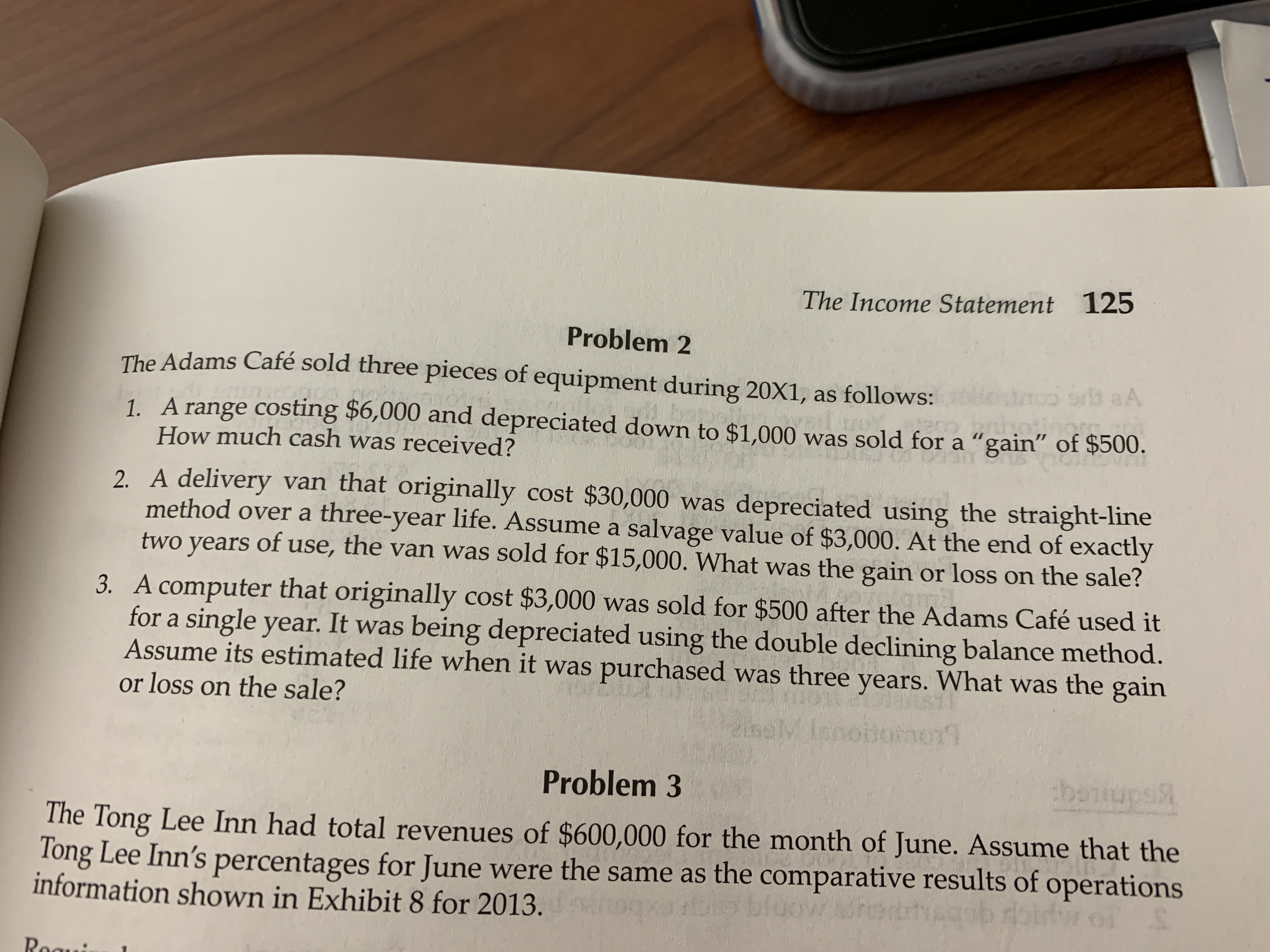 """The Income Statement 125 Problem 2 The Adams Café sold three pieces of equipment during 20X1, as follows: ntmoo ort aA 1. A range costing $6,000 and depreciated down to $1.000 was sold for a """"gain"""" of $500. How much cash was received? CO: 2. A delivery van that originally cost $30,000 was depreciated using the straight-line method over a three-year life. Assume a salvage value of $3,000. At the end of exactly two years of use, the van was sold for $15,000. What was the gain or loss on the sale? 3. A computer that originally cost $3,000 was sold for $500 after the Adams Café used it for a single year. It was being depreciated using the double declining balance method. Assume its estimated life when it was purchased was three years. What was the gain or loss on the sale? Problem 3 banupsR The Tong Lee Inn had total revenues of $600,000 for the month of June. Assume that the Tong Lee Inn's percentages for June were the same as the comparative results of operations information shown in Exhibit 8 for 2013."""