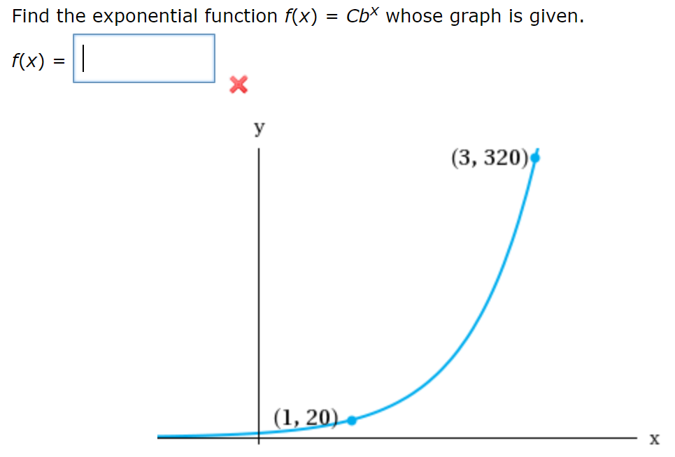 Find the exponential function f(x) = CbX whose graph is given. f(x) _ y (3, 320) (1, 20) X