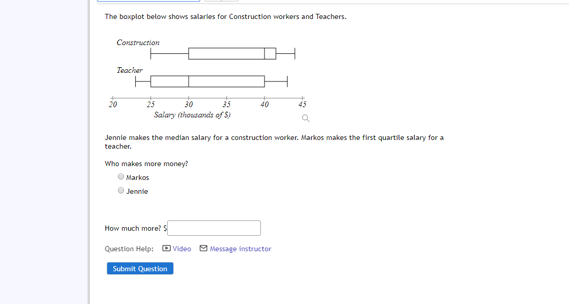 The boxplot below shows salaries for Construction workers and Teachers. Construction Teacher 20 25 30 35 40 Salary (thousands of S) Jennie makes the median salary for a construction worker. Markos makes the first quartile salary for a teacher. Who makes more money? O Markos O Jennie How much more? S D Video O Message instructor Question Help: Submit Question