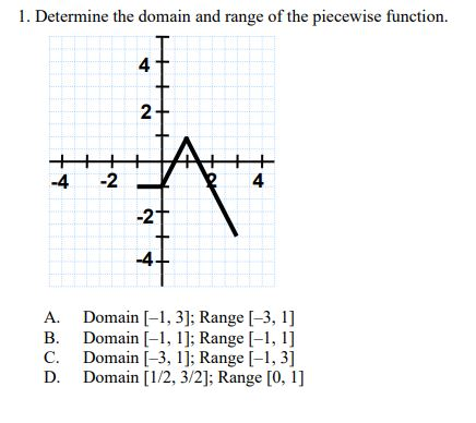 1. Determine the domain and range of the piecewise function. 2- -2 4. -4 -2 + Domain [-1, 3]; Range [-3, 1] Domain [-1, 1]; Range [-1, 1] Domain [-3, 1]; Range [-1, 3] Domain [1/2, 3/2]; Range [0, 1] A. B. C. D. 4.