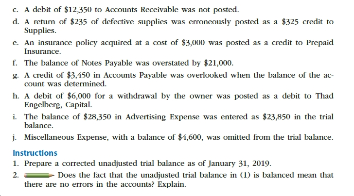 c. A debit of $12,350 to Accounts Receivable was not posted. d. A return of $235 of defective supplies was erroneously posted as a $325 credit to Supplies e. An insurance policy acquired at a cost of $3,000 was posted as a credit to Prepaid Insurance. f. The balance of Notes Payable was overstated by $21,000. g. A credit of $3,450 in Accounts Payable was overlooked when the balance of the ac- count was determined h. A debit of $6,000 for a withdrawal by the owner was posted as a debit to Thad Engelberg, Capital i. The balance of $28,350 in Advertising Expense was entered as $23,850 in the trial balance j. Miscellaneous Expense, with a balance of $4,600, was omitted from the trial balance Instructions 1. Prepare a corrected unadjusted trial balance as of January 31, 2019. 2 there are no errors in the accounts? Explain Does the fact that the unadjusted trial balance in (1) is balanced mean that