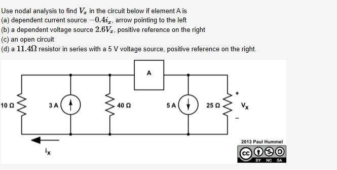 Use nodal analysis to find V, in the circuit below if element A is (a) dependent current source -0.4i,, arrow pointing to the left (b) a dependent voltage source 2.6Vz, positive reference on the right (c) an open circuit (d) a 11.42 resistor in series with a 5 V voltage source, positive reference on the right. 5A 10 Q 40 Q 25 Q 2013 Paul Hummel ix BY NC SA