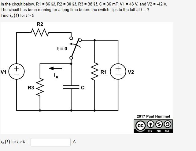 In the circuit below, R1 = 86 N, R2 = 30 N, R3 = 38 N, C = 36 mF, V1 = 48 V, and V2 = -42 V. The circuit has been running for a long time before the switch flips to the left at t = 0 Find iz (t) for t> 0 R2 t = 0 V2 V1 R1 ix R3 2017 Paul Hummel NC SA BY iz(t) for t> 0 = A (+1