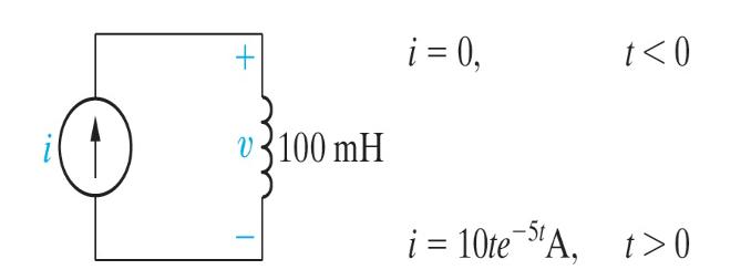 """i = 0, t<0 v3100 mH i = 10te """"A, t>0"""