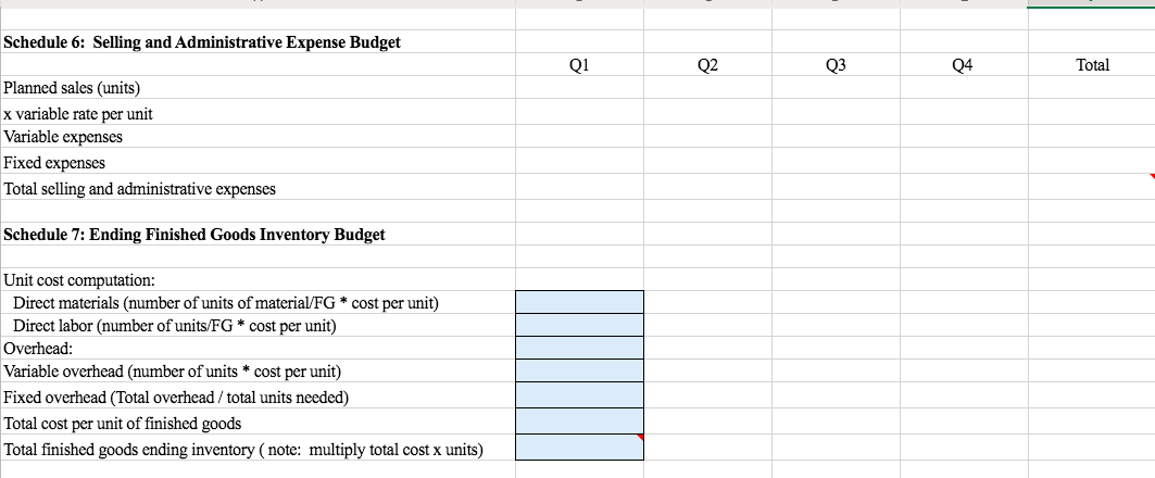 Schedule 6: Selling and Administrative Expense Budget Q1 Q2 Q3 Q4 Total Planned sales (units) x variable rate per unit Variable expenses Fixed expenses Total selling and administrative expenses Schedule 7: Ending Finished Goods Inventory Budget Unit cost computation: Direct materials (number of units of material/FG * cost per unit) Direct labor (number of units/FG* cost per unit) Overhead: Variable overhead (number of units * cost per unit) Fixed overhead (Total overhead /total units needed) Total cost per unit of finished goods Total finished goods ending inventory ( note: multiply total cost x units)
