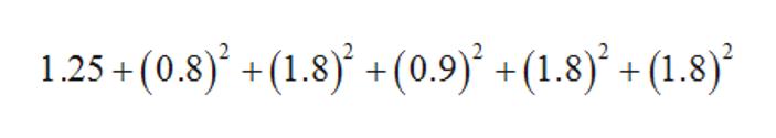 1.25 + (0.8)* + (1.8) +(0.9) +(1.8)* + (1.8)*