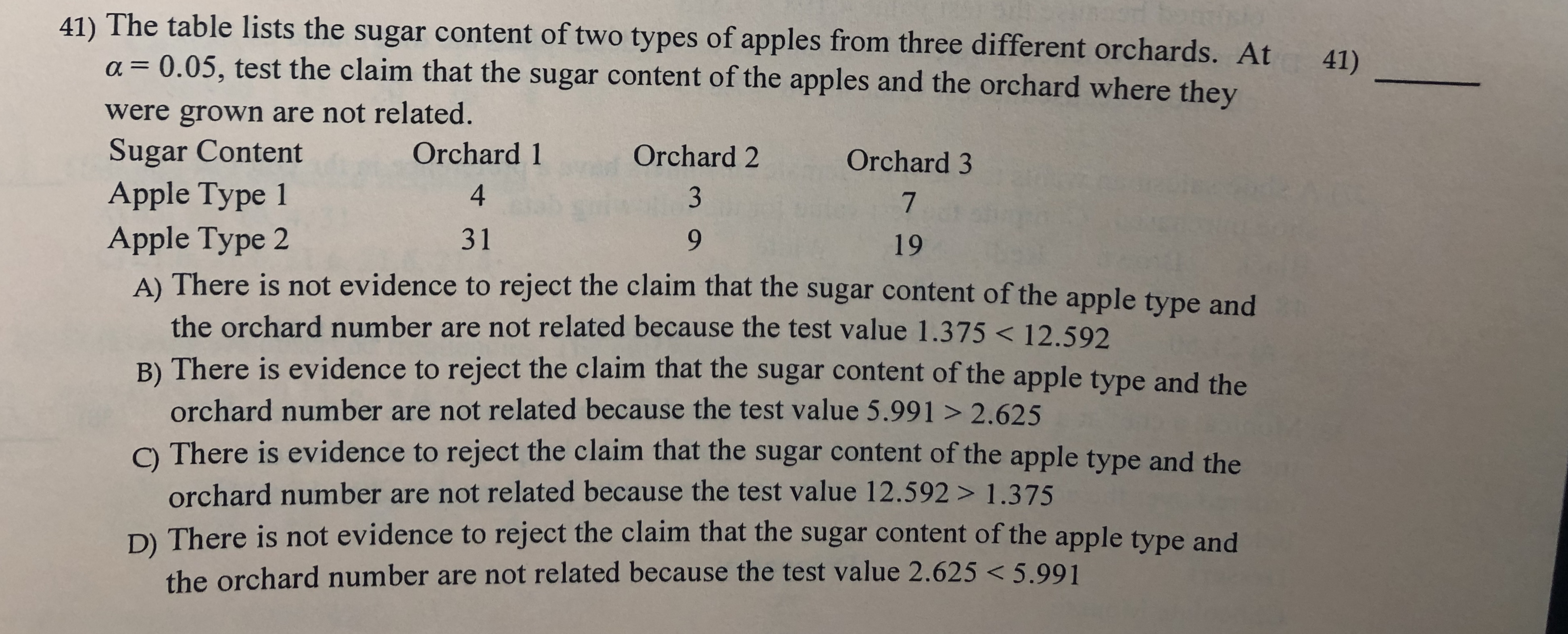 41) The table lists the sugar content of two types of apples from three different orchards. At a 0.05, test the claim that the sugar content of the apples and the orchard where they 41) 1 were grown are not related. Sugar Content Apple Type 1 Orchard 1 Orchard 2 Orchard 3 4 3 7 31 Apple Type 2 A) There is not evidence to reject the claim that the sugar content of the apple type and 19 the orchard number are not related because the test value 1.375< 12.592 B) There is evidence to reject the claim that the sugar content of the apple type and the orchard number are not related because the test value 5.991 > 2.625 C There is evidence to reject the claim that the sugar content of the apple type and the orchard number are not related because the test value 12.592 > 1.375 D) There is not evidence to reject the claim that the sugar content of the apple type and the orchard number are not related because the test value 2.625 < 5.99 1