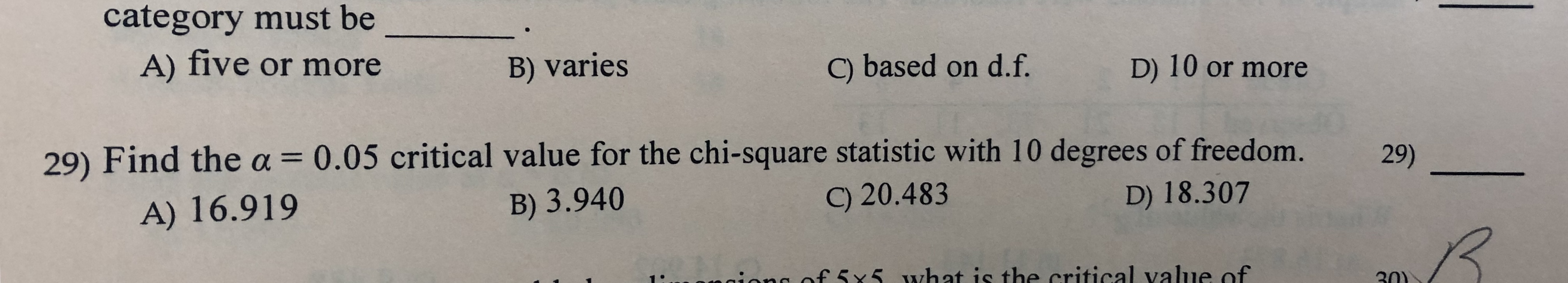 category must be A) five or more B) varies C) based on d.f. D) 10 or more 29) Find thea= 0.05 critical value for the chi-square statistic with 10 degrees of freedom. 29) 9) 20.483 A) 16.919 B) 3.940 D) 18.307 ion f 5x5 what is the critical value of 30)