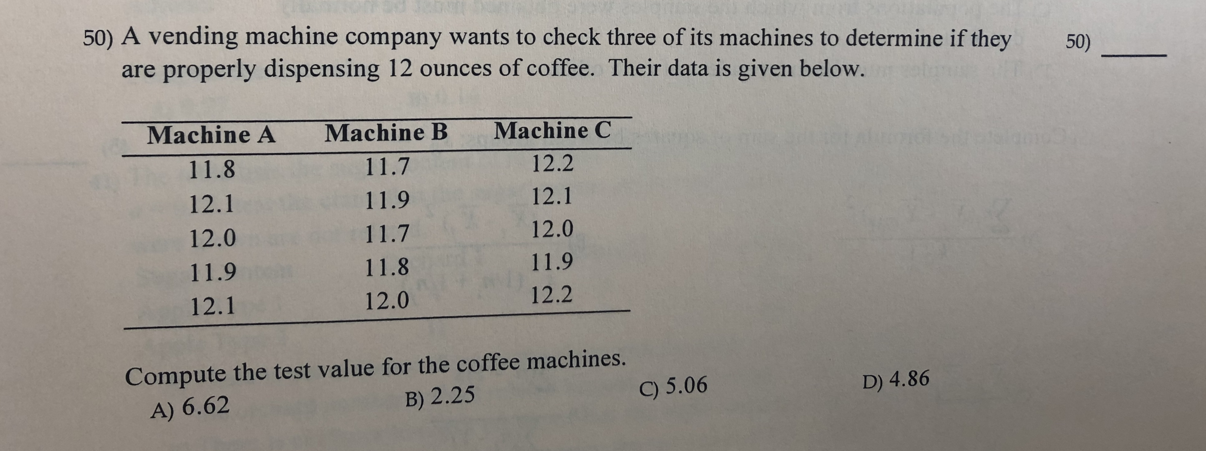 50) A vending machine company wants to check three of its machines to determine if they 50) are properly dispensing 12 ounces of coffee. Their data is given below. Machine A Machine C Machine B 11.8 11.7 12.2 12.1 11.9 12.1 12.0 12.0 11.7 11.9 11.8 11.9 12.2 12.0 12.1 Compute the test value for the coffee machines. B) 2.25 9 5.06 D) 4.86 A) 6.62