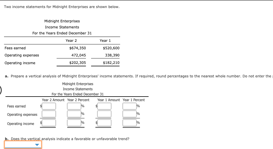 Two income statements for Midnight Enterprises are shown below. Midnight Enterprises Income Statements For the Years Ended December 31 Year 2 Year 1 Fees earned $674,350 $520,600 Operating expenses 472,045 338,390 $202,305 $182,210 Operating income a. Prepare a vertical analysis of Midnight Enterprises' income statements. If required, round percentages to the nearest whole number. Do not enter the Midnight Enterprises Income Statements For the Years Ended December 31 Year 2 Amount Year 2 Percent Year 1 Amount Year 1 Percent Fees earned Operating expenses Operating income b. Does the vertical analysis indicate a favorable or unfavorable trend?
