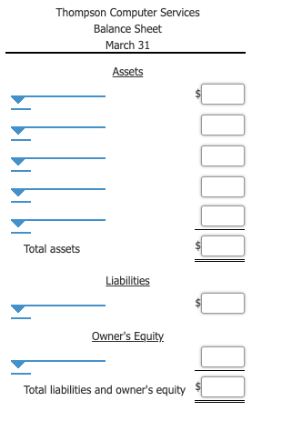 Thompson Computer Services Balance Sheet March 31 Assets Total assets Liabilities Owner's Equity Total liabilities and owner's equity