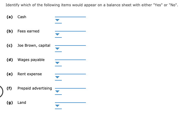 """Identify which of the following items would appear on a balance sheet with either """"Yes"""" or """"No"""". (a) Cash (b) Fees earned (c) Joe Brown, capital (d) Wages payable Rent expense (e) (f) Prepaid advertising Land (g)"""
