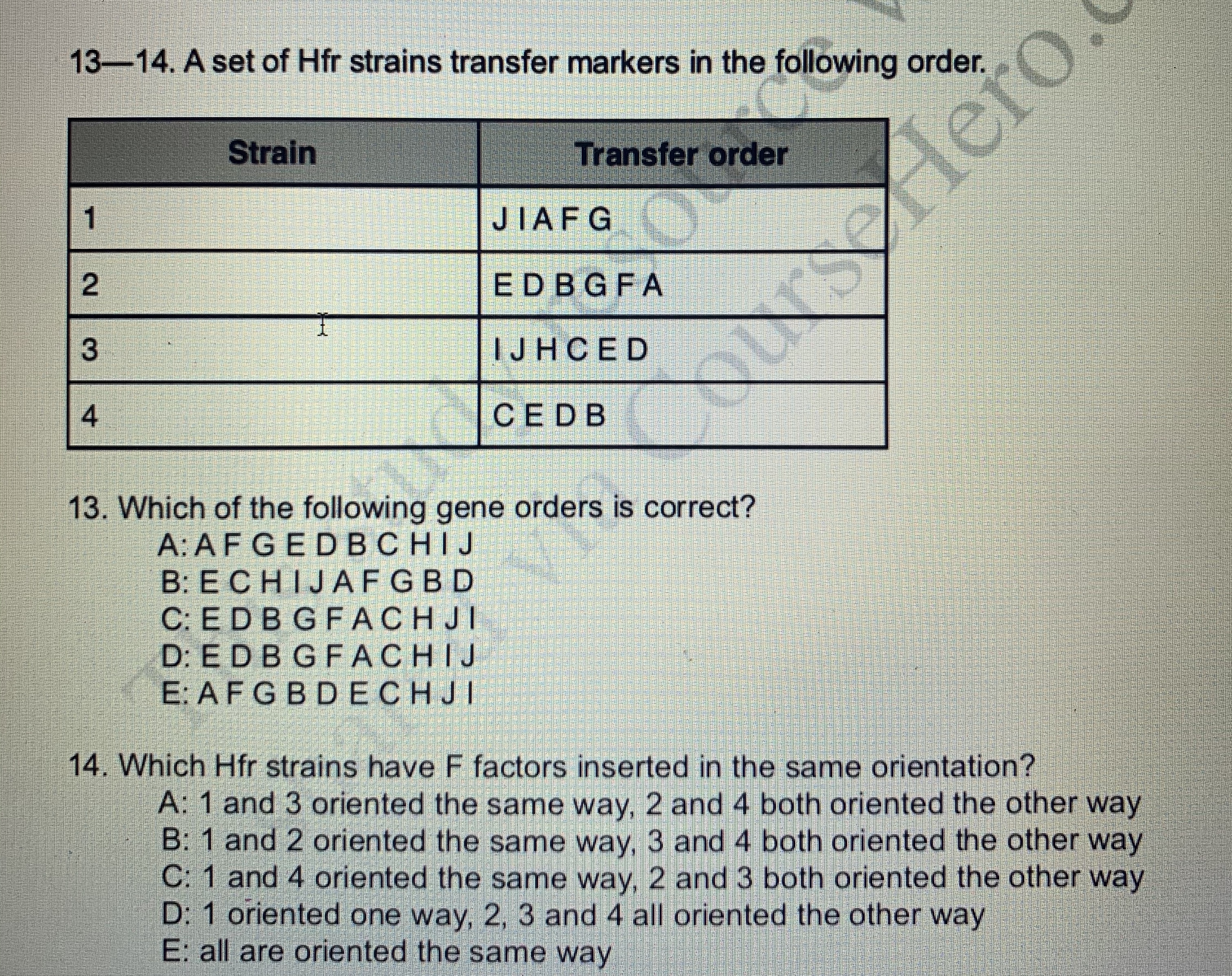 13-14. A set of Hfr strains transfer markers in the following order. Strain Transfer order JIAF G 1 ED BGFA IJH CE D CED B 13. Which of the following gene orders is correct? A: AFGEDBCHIJ B: ECHIJAFGBD C: E D B G FACH JI D: E D B G FACHIJ E: A F G BD ECHJI 14. Which Hfr strains have F factors inserted in the same orientation? A: 1 and 3 oriented the same way, 2 and 4 both oriented the other way B: 1 and 2 oriented the same way, 3 and 4 both oriented the other way C: 1 and 4 oriented the same way, 2 and 3 both oriented the other way D: 1 oriented one way, 2, 3 and 4 all oriented the other way E: all are oriented the same way 2 UYSerlero