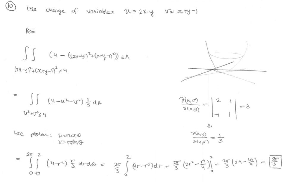V= xty-) =2X-y Use change of Variables SS (2x-y (Xty-4 -11 S4- d 3 use polen; u-rnao Vrmhg 2 2 (4r rde Gr-r>)dr 21T