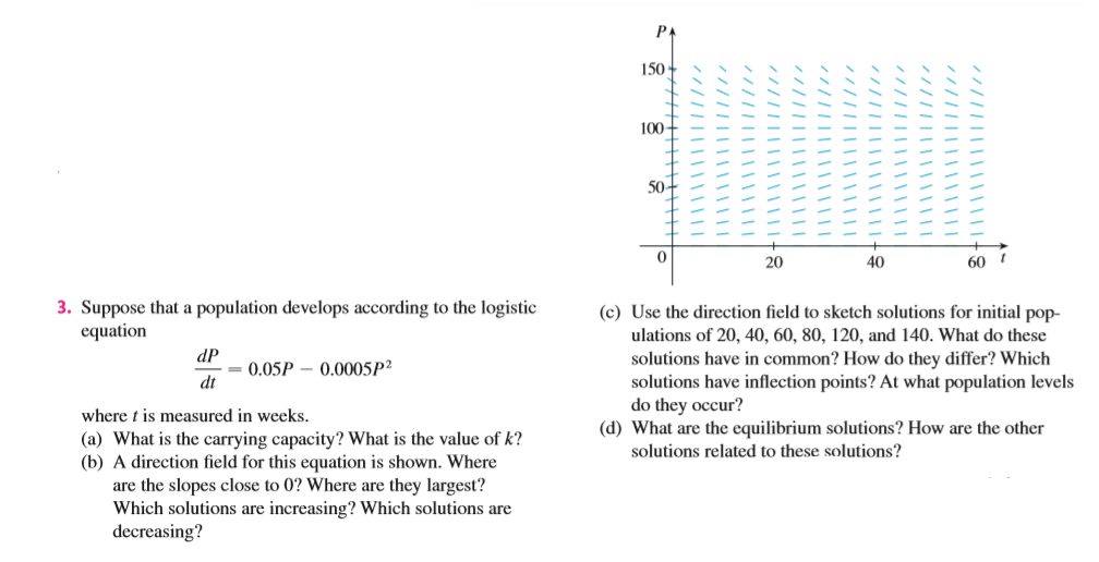 150 100 50 20 40 60 3. Suppose that a population develops according to the logistic equation (c) Use the direction field to sketch solutions for initial pop- ulations of 20, 40, 60, 80, 120, and 140. What do these dP = 0.05P - 0.0005P2 dt solutions have in common? How do they differ? Which solutions have inflection points? At what population levels do they occur? (d) What are the equilibrium solutions? How are the other solutions related to these solutions? where t is measured in weeks. (a) What is the carrying capacity? What is the value of k? (b) A direction field for this equation is shown. Where are the slopes close to 0? Where are they largest? Which solutions are increasing? Which solutions are decreasing?
