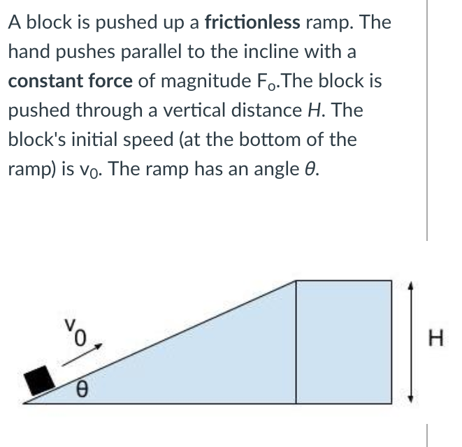 A block is pushed up a frictionless ramp. The hand pushes parallel to the incline with a constant force of magnitude F,.The block is pushed through a vertical distance H. The block's initial speed (at the bottom of the ramp) is vo. The ramp has an angle 0. Н Ө