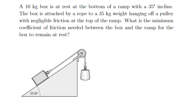 """A 10 kg box is at rest at the bottom of a ramp with a 35"""" incline The box is attached by a rope to a 35 kg weight hanging off a pulley with negligible friction at the top of the ramp. What is the minimum coefficient of friction needed between the box and the ramp for the box to remain at rest? 35.0"""