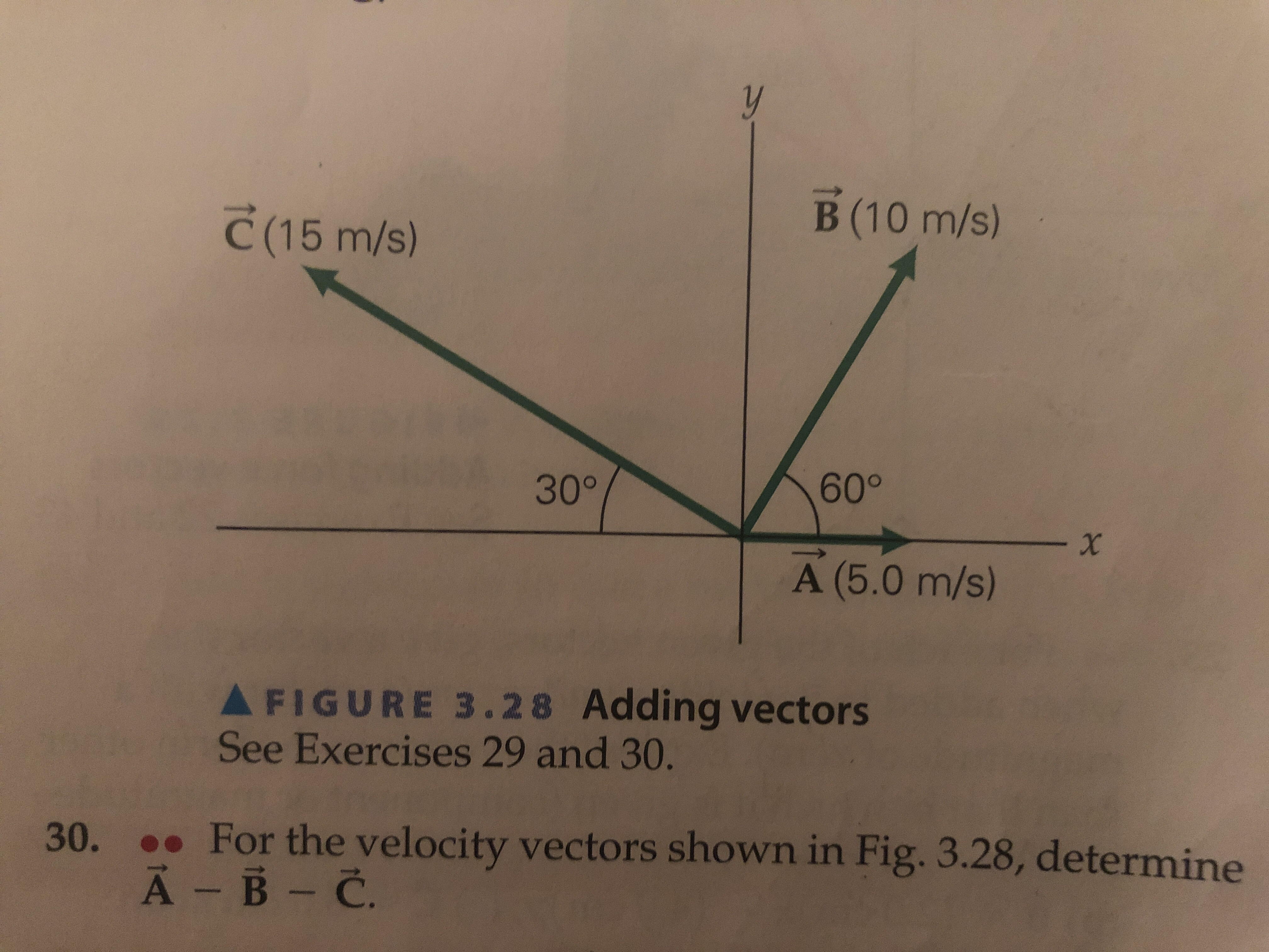 B (10 m/s) C(15 m/s) 60° 30° - X A (5.0 m/s) AFIGURE 3.28 Adding vectors See Exercises 29 and 30. For the velocity vectors shown in Fig. 3.28, determine 30. A- B C