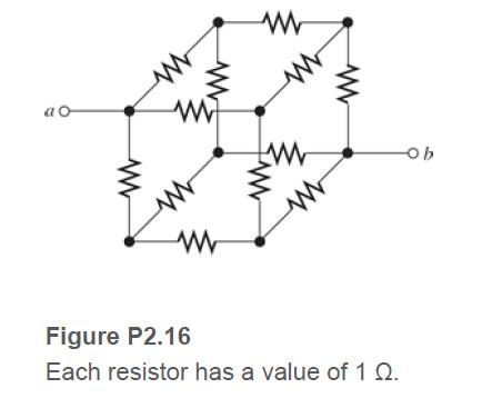 Figure P2.16 Each resistor has a value of 1 Q.