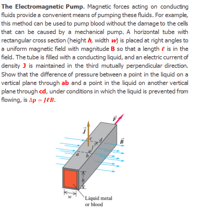 The Electromagnetic Pump. Magnetic forces acting on conducting fluids provide a convenient means of pumping these fluids. For example, this method can be used to pump blood without the damage to the cells that can be caused by a mechanical pump. A horizontal tube with rectangular cross section (height h, width w) is placed at right angles to a uniform magnetic field with magnitude B so that a length e is in the field. The tube is filled with a conducting liquid, and an electric current of density J is maintained in the third mutually perpendicular direction. Show that the difference of pressure between a point in the liquid on a vertical plane through ab and a point in the liquid on another vertical plane through cd, under conditions in which the liquid is prevented from flowing, is Ap = JeB. `Liquid metal or blood