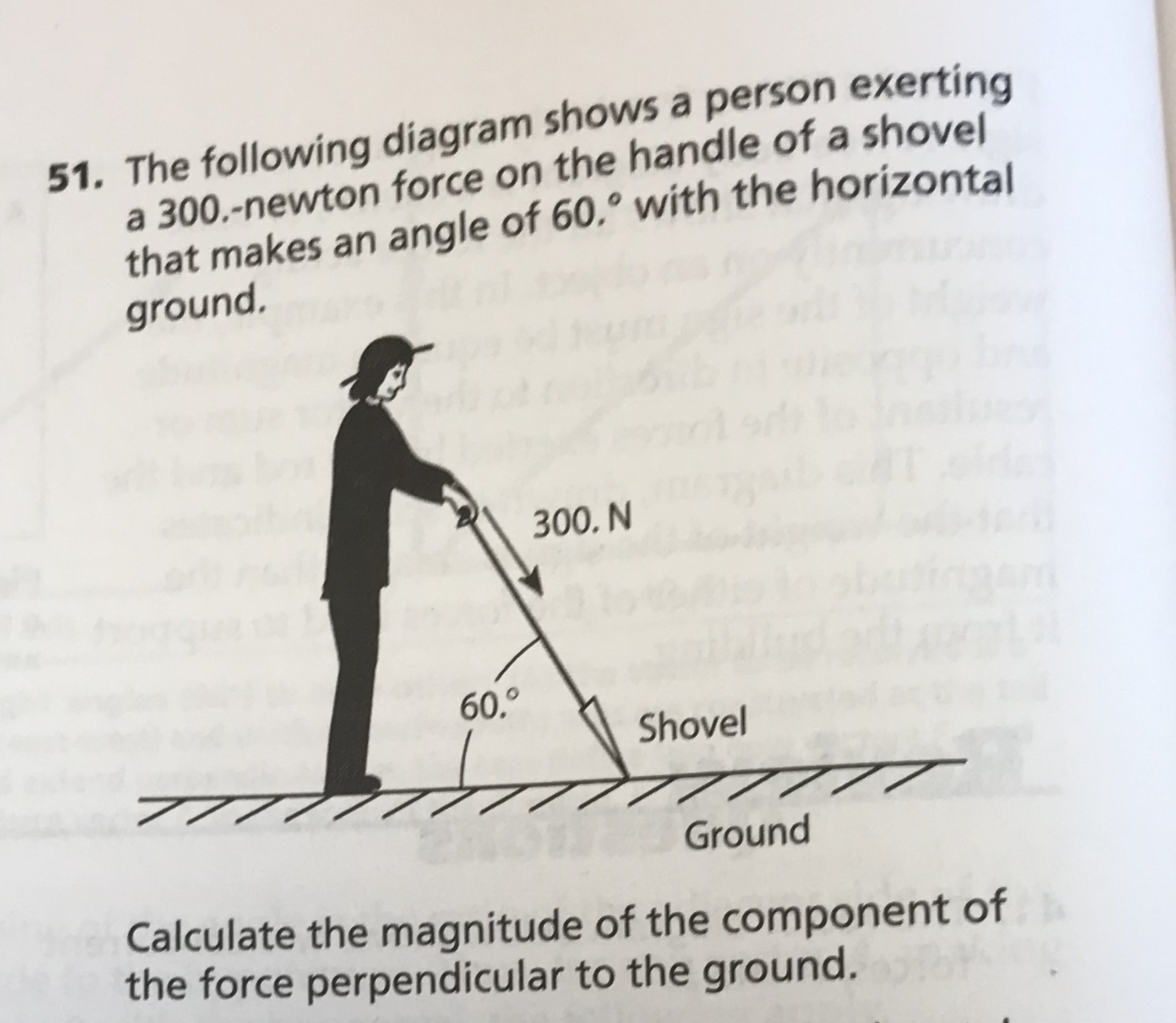 51. The following diagram shows a person exerting a 300.-newton force on the handle of a shovel that makes an angle of 60.° with the horizontal ground. 300. N 60,0 Shovel 777 Ground Calculate the magnitude of the component of the force perpendicular to the ground.