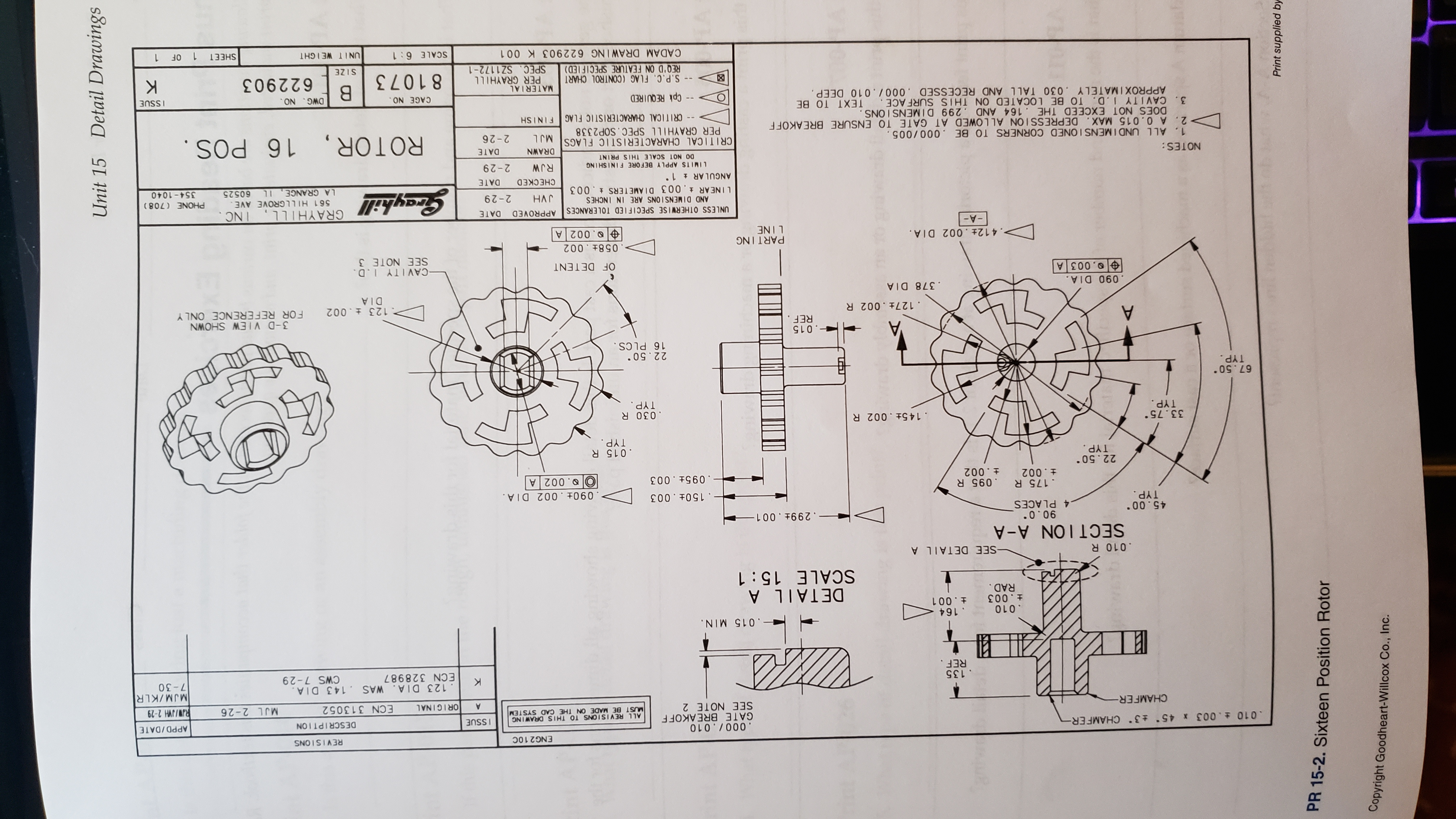 Detail Drawings Unit 15 E Print supplied by PR 15-2. Sixteen Position Rotor Copyright Goodheart-Willcox Co., Inc. ENG2 10C REVISIONS .000/ .010 GATE BREAKOFF SEE NOTE 2 .010 003 * 45 3 CHAMF ER- SSUE DESCRIPTION APPD/DATE ALL REVISI ONS TO THIS DRAWING MUST BE MADE ON THE CAD SYSTEM RW/JVH 2-29 MJM/KLR 7-30 CHAMFER- A OR IGINAL ECN 313052 MJL 2-26 .135 REF. .123 DIA. WAS 143 DIA ECN 328987 CWS 7-29 -. 015 MIN. .164 .010 t .003 +.001 RAD. DETAIL A SCALE 15 1 .010 R -SEE DETAILA SECTION A-A .00 40 TYP. 90.0 .4 PLACES .150+.003 .175 R .095 R t.002 090 002 DIA .002 A + .002 .095t .003 22.50 TYP .015 R TYP. 33.75 TYP. .145+ .002 R .030 R TYP. 67.50 TYP. 22.50 16 PLCS. -. 015 REF A 3-D VIEW SHOWN FOR REFERENCE ONLY .127t .002 R 123 .002 DIA .378 DIA .090 DIA .003 A -CAV I TY 1.D. SEE NOTE 3 OF DETENT PART ING LINE .058+ . 002 .002 A . 412t . 002 DIA. -A- GRAYHILL, INC APPROVED DATE UNLESS OTHERWISE SPECIFIED TOLERANCES AND DIMENSIONS ARE IN INCHES LINEAR 003 DIAMETERS .003 ANGULAR 1 561 HILLGROVE AVE PHONE (708) HAT CHECKED 2-29 LA GRANGE, 11 60525 354-1040 DATE LIMITS APPLY BEFORE FINISHING RJW 2-29 NOTES: DO NOT SCALE THIS PRINT 910 ROTOR, 16 POS. DRAWN DATE CRITICAL CHARACTERISTIC FLAGS PER GRAYHILL SPEC.SOP2338 1. ALL UNDIMENS I ONED CORNERS TO BE .000 /005. 2. A 0.015 MAX. DEPRESSI ON ALLOWED AT GATE TO ENSURE BREAKOFF DOES NOT EXCEED THE .164 AND .299 DIMENSIONS. 3. CAVITY I.D. TO BE LOCATED ON THIS SURFACE. TEXT TO BE APPROXIMATELY .030 TALL AND RECESSED .000/.010 DEEP MJL 2-26 CRITICAL CHARACTERISTIC FLAG FINISH -- Cpk REQUIRED CAGE NO DWG ISSUE ON MATERIAL PER GRAYHILL SPEC. SZ1172-1 81073 -- S.P.C. FLAG (CONTROL CHART 622903 X REQ'D ON FEATURE SPECIFIED) 3ZIS CADAM DRAWING 622903 K 001 SCALE 6:1 SHEET 1 OF 1 UNIT WEIGHT