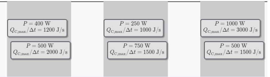 P = 400 W QC.max/At = 1200 J/s P =250 W P 1000 W QC.max/At 1000 J/s QC.max/At = 3000 J/s P =750 W QC.max/At = 1500 J/s P =500 W OCmax/At = 1500 J/s P=500 W QCmax/At 2000 J/s