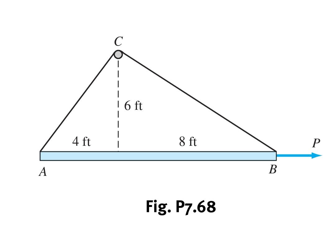С 6 ft 4 ft 8 ft Р В Fig. P7.68
