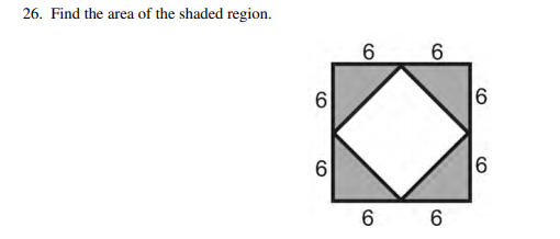 26. Find the area of the shaded region. 6 6 6 6 6 6 6 CO CO CO