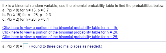 If x is a binomial random variable, use the binomial probability table to find the probabilities below. a. P(x<8) for n 15, p 0.7 b. P(x2 15) for n 25, p 0.3 c. P(x 2) for n 20, p 0.4 Click here to view a portion of the binomial probability table for n = 15. Click here to view a portion of the binomial probability table for n = 20. Click here to viewa portion of the binomial probability table for n 25 a. P(x 8) (Round to three decimal places as needed.)
