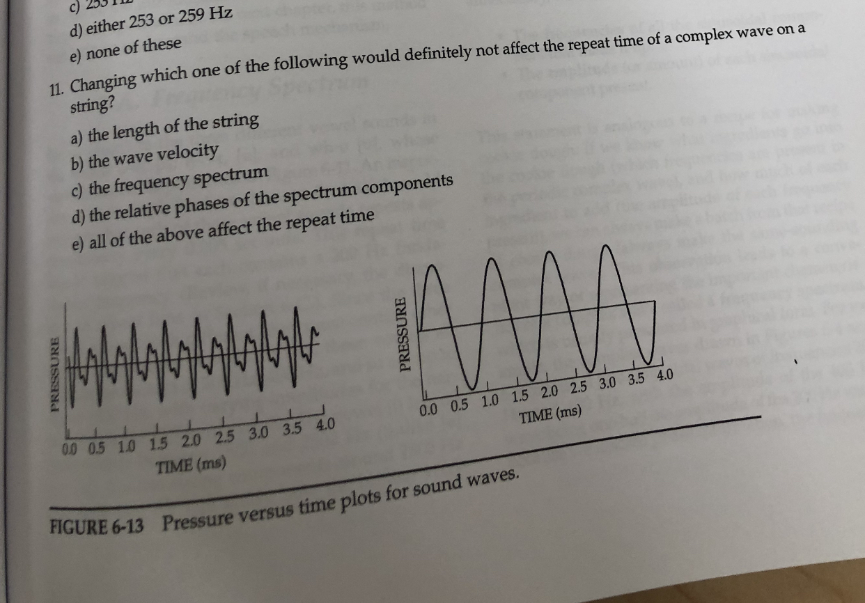 c) d) either 253 or 259 Hz none of these 11 Changing which one of the following would definitely not affect the repeat time of a complex wave ona string? a) the length of the string b) the wave velocity c) the frequency spectrum d) the relative phases of the spectrum components e) all of the above affect the repeat time 0.0 0.5 1.0 1.5 2.0 2.5 3.0 3.5 4.0 0 0.5 1.0 1.5 2.0 2.5 3.0 3.5 4.0 TIME (ms) TIME (ms) FIGURE 6-13 Pressure versus time plots for sound waves. PRESSURE PRESSURE