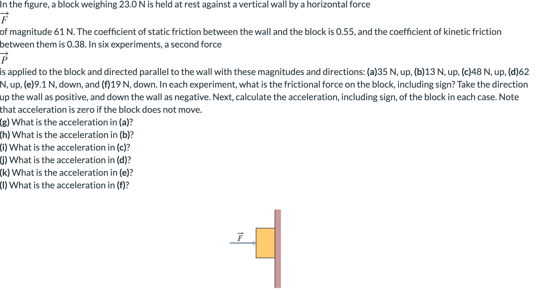 In the figure, a block weighing 23.0 N is held at rest against a vertical wall by a horizontal force of magnitude 61 N. The coefficient of static friction between the wall and the block is 0.55, and the coefficient of kinetic friction between them is 0.38. In six experiments, a second force P is applied to the block and directed parallel to the wall with these magnitudes and directions: (a)35 N, up, (b) 13 N, up, (c)48 N, up, (d)62 N, up, (e)9.1 N, down, and (f)19 N, down. In each experiment, what is the frictional force on the block, including sign? Take the direction up the wall as positive, and down the wall as negative. Next, calculate the acceleration, including sign, of the block in each case. Note that acceleration is zero if the block does not move. (g) What is the acceleration in (a)? (h) What is the acceleration in (b)? (i) What is the acceleration in (c)? (i) What is the acceleration in (d)? (k) What is the acceleration in (e)? (1) What is the acceleration in (f)?