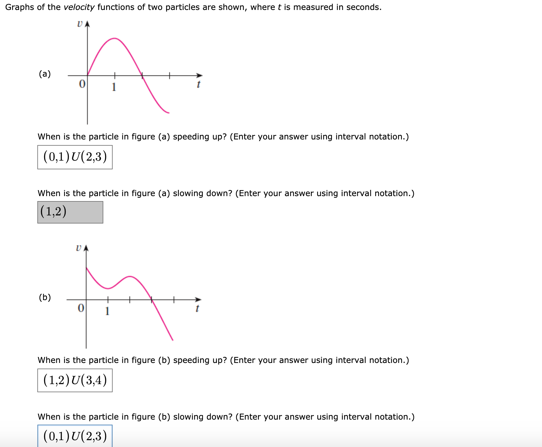 Graphs of the velocity functions of two particles are shown, where t is measured in seconds. (a) When is the particle in figure (a) speeding up? (Enter your answer using interval notation.) (0,1)U(2,3) When is the particle in figure (a) slowing down? (Enter your answer using interval notation.) (1,2) UA (b) When is the particle in figure (b) speeding up? (Enter your answer using interval notation.) (1,2)U(3,4) When is the particle in figure (b) slowing down? (Enter your answer using interval notation.) (0,1)U(2,3)