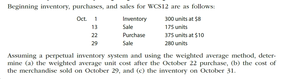 Beginning inventory, purchases, and sales for WCS12 are as follows: Oct. Inventory 300 units at $8 Sale 13 175 units Purchase 375 units at $10 22 280 units Sale 29 Assuming a perpetual inventory system and using the weighted average method, deter- mine (a) the weighted average unit cost after the October 22 purchase, (b) the cost of the merchandise sold on October 29, and (c) the inventory on October 31.